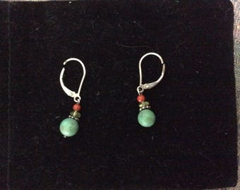 Vintage Earrings, Sterling Turquoise Beaded, Marked 925