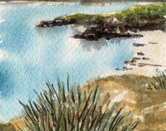 Grasses Overlooking the Beach and Bay, Miniature Watercolour Painting, Original Artwork