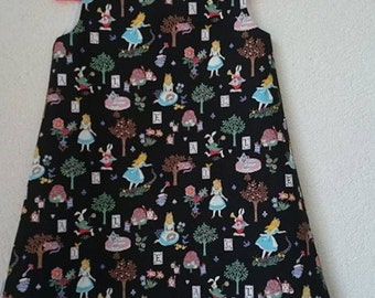 A line dress pinafore Alice in Wonderland a lijn jurkje kleid size 5-6