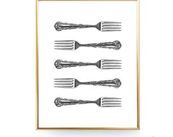 Vintage Fork Printable Wall Décor Fork Print Kitchen Printable Art Fork Art Silverware Print Kitchen Utensil Art Kitchen Print Utensil Print