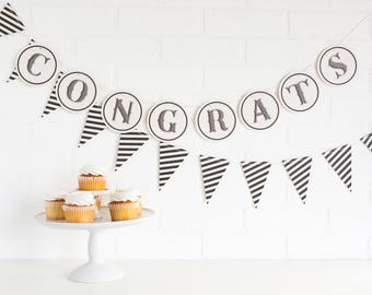 Congrats Banner / Banner / Anniversary / Graduation Party / Black and White Party / Class of 2017
