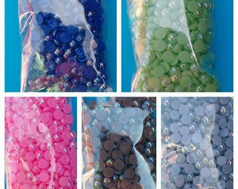 400x half pearls 4mm glue on flat back flatback resin pearlised beads gems Embellishments blue pink green grey brown craft supplies uk