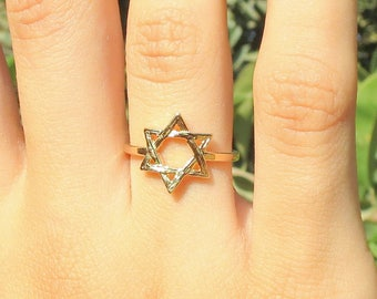 Gold Star of David Ring, 2.5 micron 14K Gold Plated, Magen David, Jewish Star Ring, Judaica Ring, Judaica Jewelry, Star of David jewelry.
