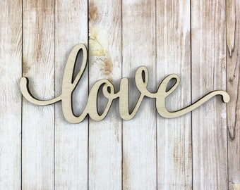 Love Wooden Word, Large Wood Words, Wall Gallery Wood Word Art, Nursery Wooden Word Decor, Lowercase Script Font Word