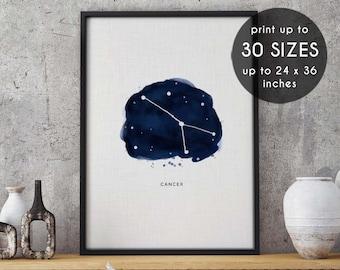 Cancer, Cancer print, zodiac print, constellation, astrology art, zodiac, wall art, zodiac art, constellation print, constellation art, 84