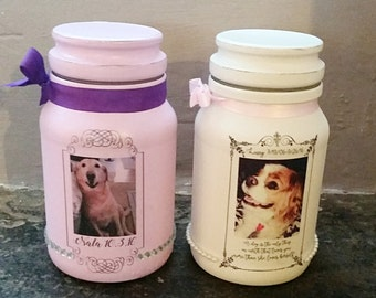Pet Urn, Personalised Pet Urn, Handmade Urn, Photo Pet Urn, Vintage Urn, Keepsake Jar, Memorial Jar, Dog Urn, Small Pet Urn, Shabby Chic