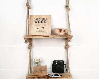 Reclaimed Wooden Shelf with Rope Hanging / Floating / Simple Rustic Wooden Shelf