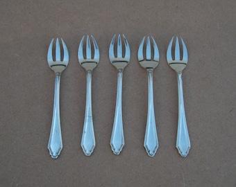 Rouded Dessert/Cake Forks - Set of 5 - Silver Plated/EPNS - Vintage Silverplate