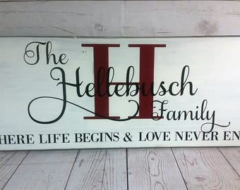 Wood Personalized Family Sign / Where Life Begins / Housewarming Gift / Wedding Gift