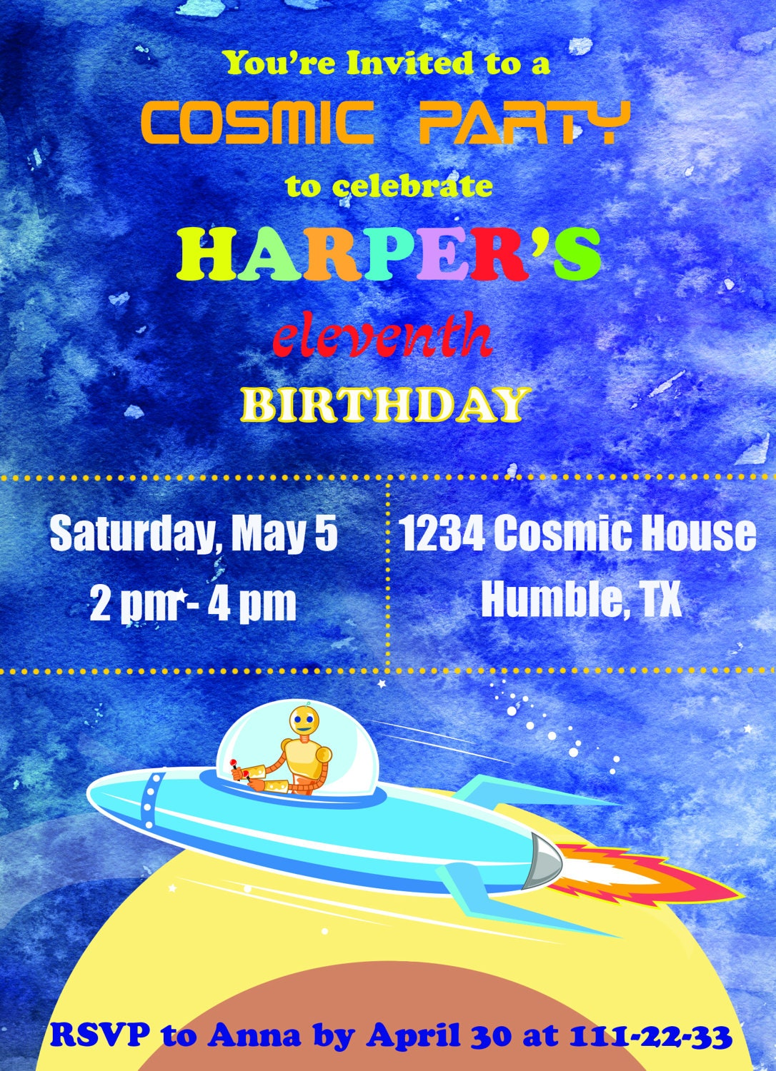 Outer Space Birthday Invitations, blue Rocket, Astronaut Invite ...