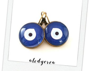 Earrings look Greek door • happiness • cabochon • bronze
