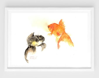 "Original watercolor, gold fish,pond,original painting,8""x11"",home decor"