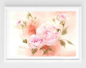 "Original flower watercolor,spring colors,blooming roses,original painting,8""3x11""8,aquarelle originale,garden,home decor"