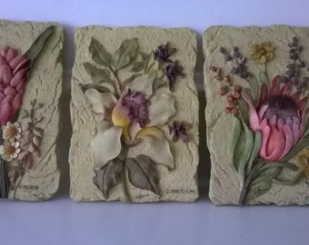 Cheri Blum artist-Floral Textured in Relief Ceramic Tiles - Set of 6