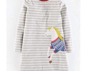 Girls long sleeve grey / white stripe applique horse dress age 2-3 years . Boden style