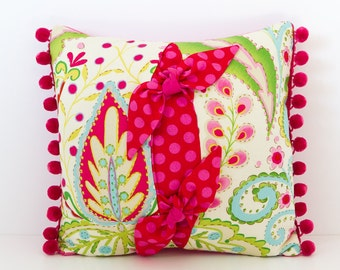 Multi-coloured Floral Cushion, Pink Floral Cushion, Kumari Garden Fabric, Square Cushion, Decorative Pillow, Patterned Cushion, Gift for Her
