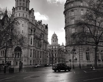 London Taxi Fine Art Hand Printed Silver Gelatin Mounted Photographic Print Various Sizes