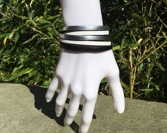 Leather Double round Cuff Bracelet