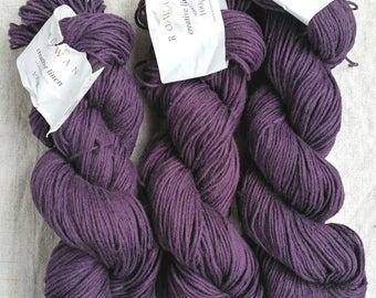 "Rowan Creative Linen lot 3 skeins 100g 638 ""Eggplant"" Purple Eggplant flax cotton - price is for 3 skeins"