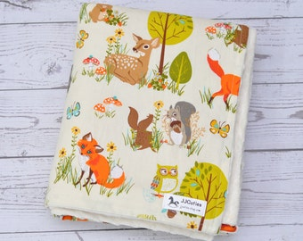 Personalized baby blanket-baby minky baby blanket-Woodland baby blanket-Woodland nursery-Woodland blanket-Birth Stats-Girl boy minky blanket