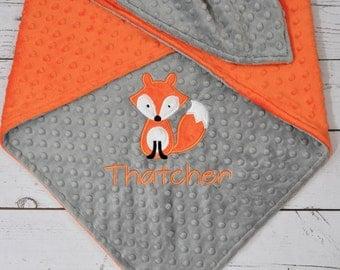 Fox Baby Blanket-Personalized Woodland Minky Fox baby blanket-Fox blanket-Fox Minky Blanket-Monogrammed Fox Blanket-Boy Girl blanket