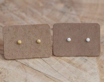 Ball Stud Earrings | Stardust Ball Studs | Sterling Silver 18K Gold Dot Earrings | Minimal Frosted Stud | Gold Ball Studs | Hammered Studs