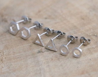Tiny Circle Studs   Open Triangle Studs   Geometric Sterling Silver 925 Studs   Hexagon Studs   Silver 925 Earrings   Circle Stud Earrings