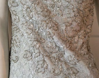 Beautiful silver vintage dress/Carmen Marc Valvo/ size 10/Party,Prom,wedding