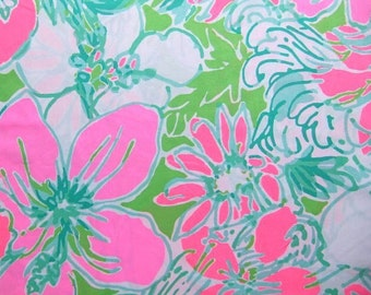 """18""""x18"""" DON'T GIVE a CLUCK Lilly Pulitzer Cotton Poplin Fabric"""