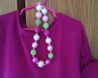 Made to Match Nelly Madison Coming Up Roses Chunky Bubblegum Necklace.  Girls M2M Gumball Necklace
