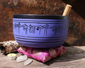 Large Tibetan Singing Bowl Set || Purple Singing Bowl || Meditation Bowl || Spiritual Instrument || Yoga || Seven Sacred Metals Bowl