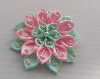 Bar pink and Mint green flower /Pince hair kanzashi/Fleur kanzashi/Ribbon satin