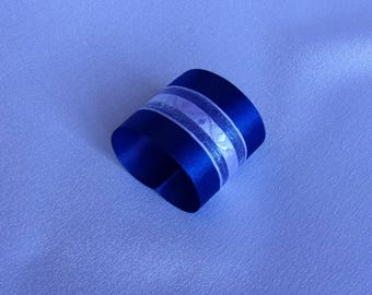 Napkin ring in Navy blue satin and organza white/table wedding, baptism, birthday or other party/Ribbon Decoration