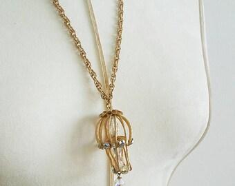 Vintage Chandelier AB Iridescent Pendant Necklace