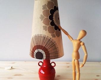 Vintage Red Ceramic Table Lamp with Original Lampshade - Seventies Design