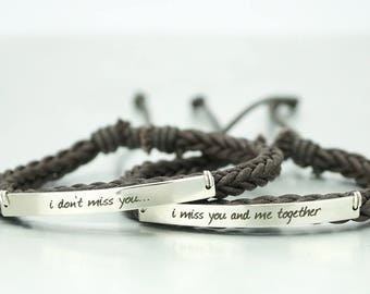 His and Her Bracelets, Boyfriend Girlfriend Jewelry, Matching Couple Bracelets, Engraved Bracelet, Brown Braided, I miss you and me together