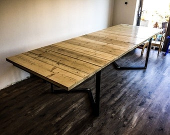 Groa - Handmade Reclaimed Industrial Chic Steel Wood Extending Dining Table & Bench .Bar Cafe Restaurant Furniture Steel Wood Made to Order