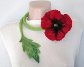 Felted Belt,Felt necklace,Red poppy necklace,Belt with poppy ,Felted flower,Felt flower necklace,Flower jewelry,Flower lariat