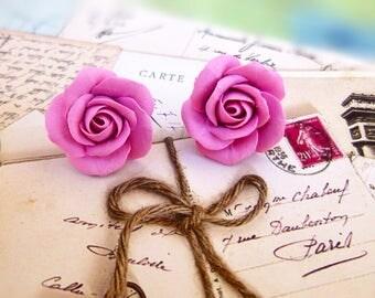 Pink mint earrings Bridal shower favors Kawaii earrings studs Delicate earrings Cute earrings Kawaii rose Pastel earrings