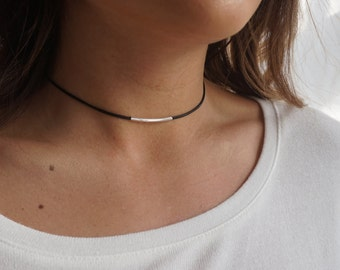 Single Leather Cord Choker, Black Choker Necklace, Dainty Choker Necklace, Black Necklace Dainty,Silver Gold Satellite Chain,Choker Necklace