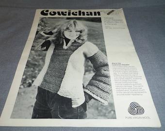 Knitting Pattern, Vintage Tabard Over Sweater, Women Size 36, 38, 40, Cowichan 6 Strand Wool, 1970s