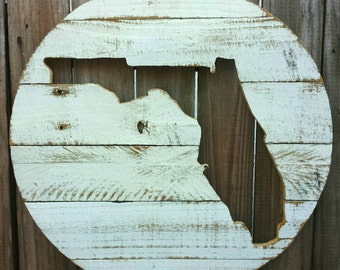 Florida State Pallet Reclaimed Wood Cutout Silhouette