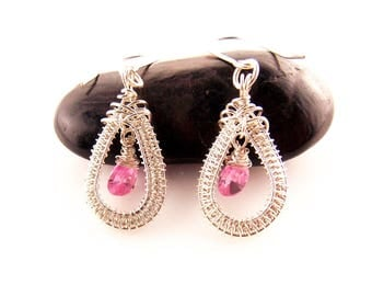 pink cubic zirconia earrings-wire wrapped earrings-handmade jewelry-silver earrings-wire weave jewelry-Melissa Wood Jewelry-pink cz earrings