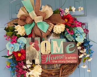 "Rooster/Chicken ""Home is where the story begins,"" Grapevine Floral Wreath, Front Door Wreath, Everyday Wreath, Country Chicken Wreath"