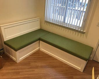 Corner bench, kitchen seating, L shaped bench, breakfast nook