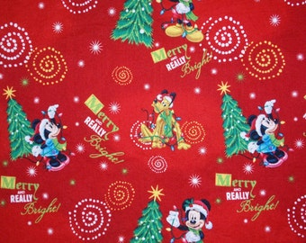 """End of Bolt, Mickey Mouse Very Merry Christmas Cotton Fabric by Disney for Springs Creation, Christmas Mickey Mouse 29""""x44"""""""