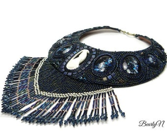 Blue night bib necklace, bead emproidered,  carved bone wolf spirit, leather lined, gift for her, ready to ship.