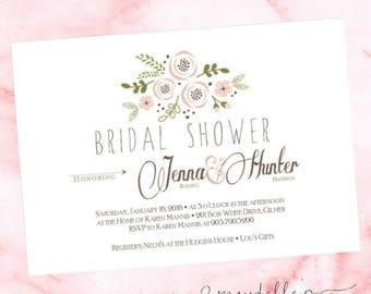 Wedding Shower Invitation - Bridal Shower Invite - Pink Floral - Custom Invitation