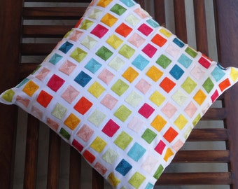 """Multi Color Embroidered Pillow, Accent Throw pillow, Decorative Pillow, Cushion Cover, Accent Pillow, 16"""" x 16"""",Gift for her, Home decor"""