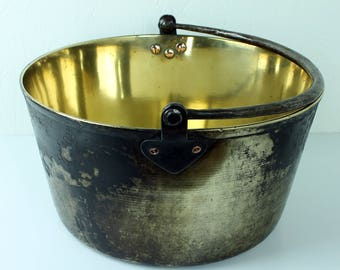 Antique brass cooking pot - heavy brass pot - brass cooking pan - brass indoor planter - decorative brass